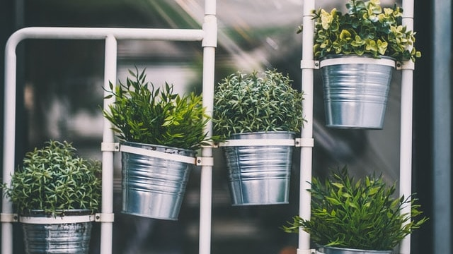 Herb Garden Ideas - Stainless Steel Pots