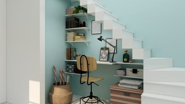 Small Home Office Ideas - Under the Staircase
