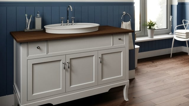 Farmhouse Bathroom Ideas - Wooden Vanity